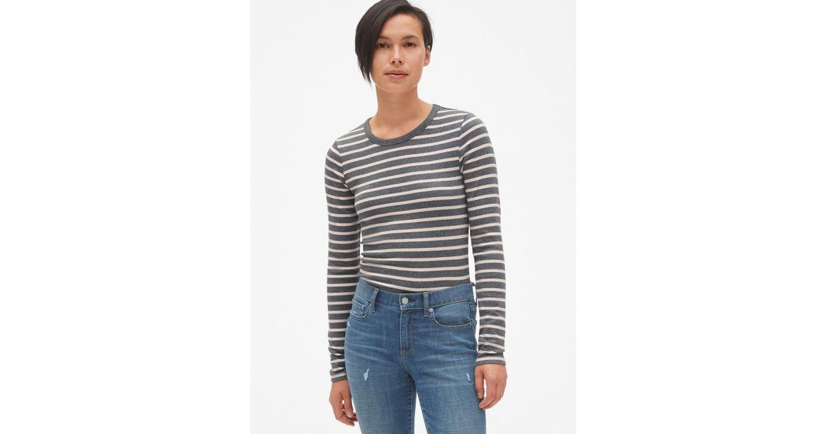 5b4029a4e531 Lyst - Gap Modern Stripe Long Sleeve Crewneck T-shirt in Gray