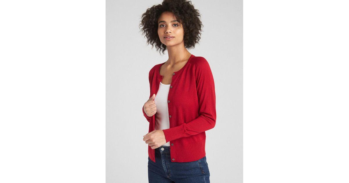5186e2bc95 Lyst - Gap Crewneck Cardigan Sweater In Merino Wool in Red
