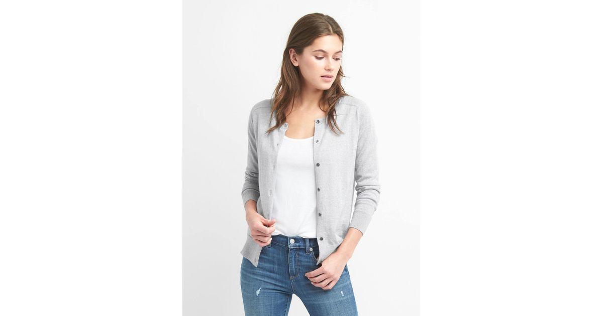 4687b54a88 Lyst - Gap Crewneck Cardigan Sweater In Merino Wool in Gray