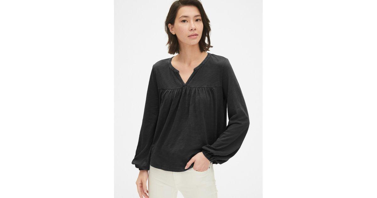 f6ea7f53d04528 Gap Soft Slub Long Sleeve Smock Top in Black - Lyst