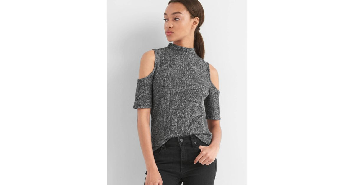 5e5384c8d0344 Lyst - Gap Softspun Ribbed Cold-shoulder Top in Black