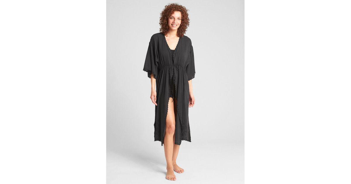 b90635023f Lyst - Gap Dreamwell Swim Cover-up Robe in Black