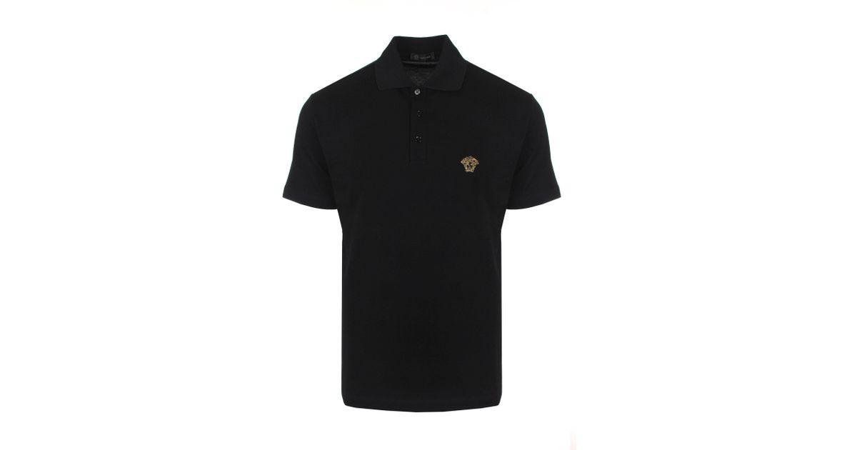 1d92c05b Versace Embroidered Medusa Polo Shirt Black/gold in Black for Men - Lyst