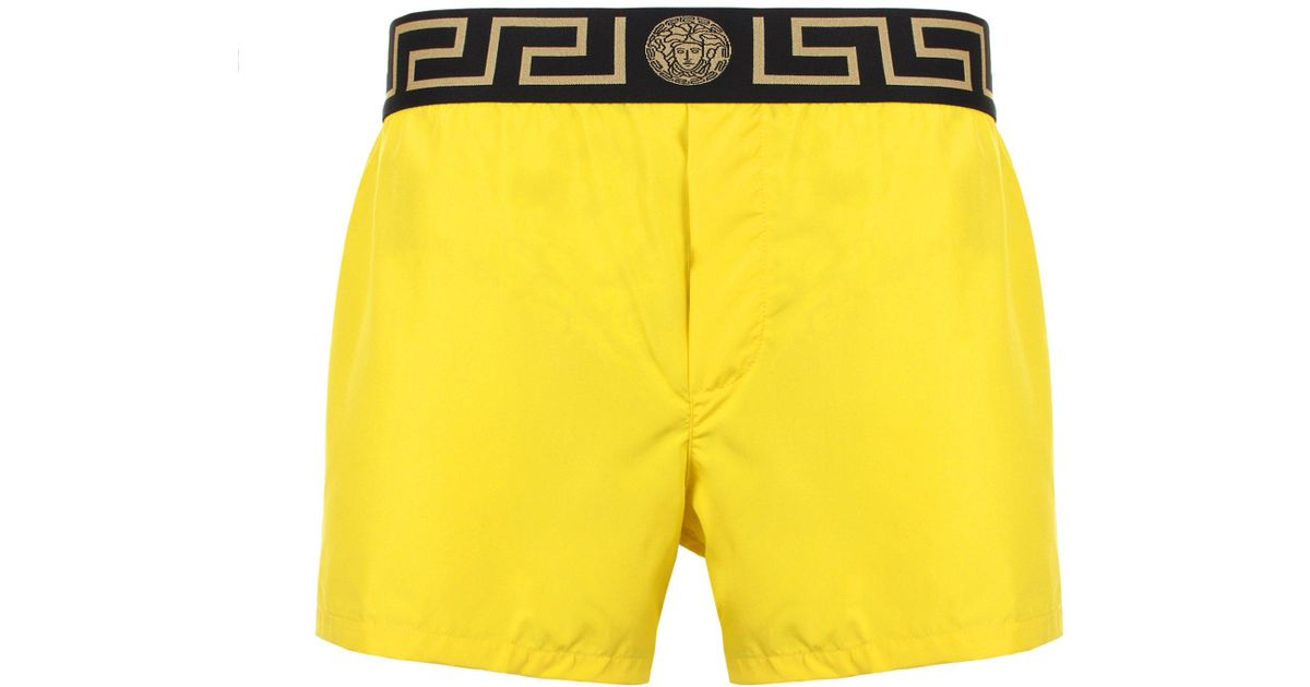 20fb92b1b0 Versace Iconic Greca Swimming Shorts Yellow/black/gold in Yellow for Men -  Lyst