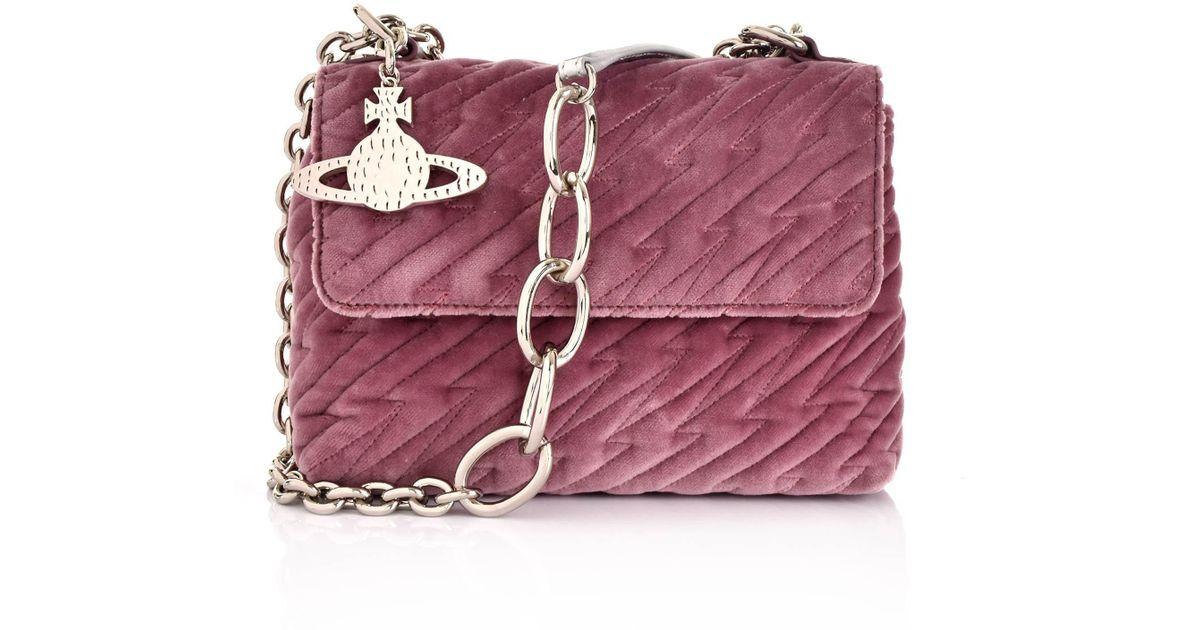 8004bed92059 Lyst - Vivienne Westwood Coventry Velvet Medium Handbag 42020030 Pink in  Pink