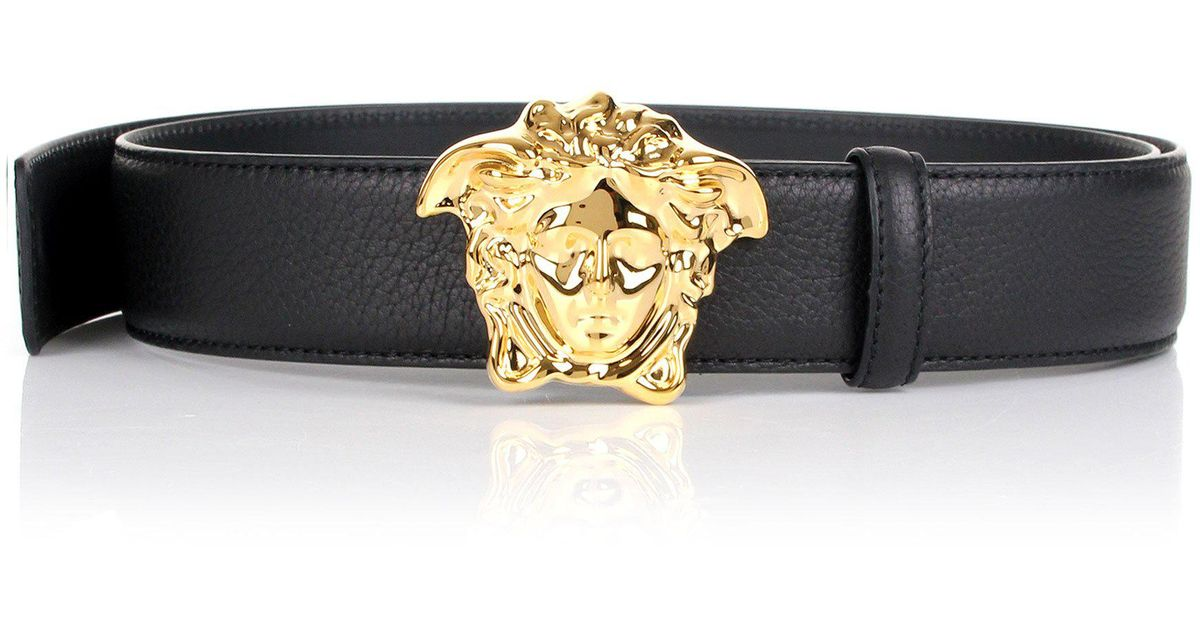 c6613bf40d ... wholesale versace palazzo medusa head belt pebbled leather black gold  in black for men lyst c3232