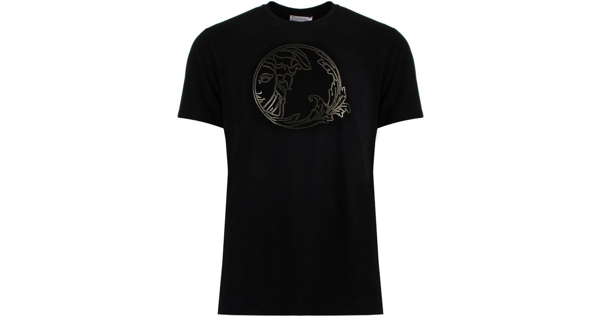 9a4edadf Versace Caviar Print Medusa Head Detail T-shirt Black/gold in Black for Men  - Lyst