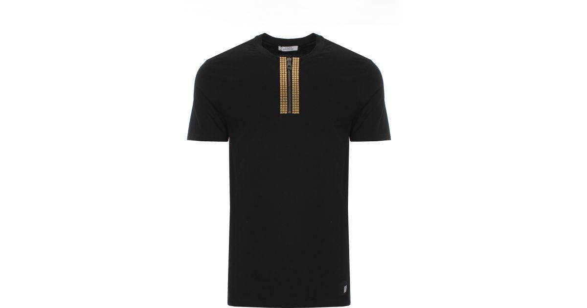 aa731c96 Versace Studded Zip T-shirt Black/gold in Black for Men - Lyst