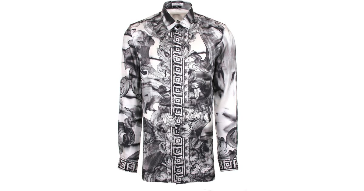 474c7c38 Lyst Versace Tie And Dye Baroque Hand Painted Silk Shirt In Black