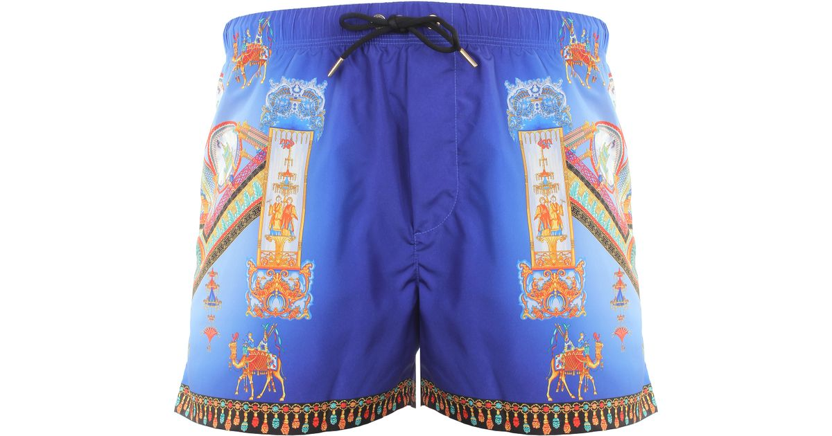 versace marco polo print swimming shorts blue multcolour in blue for men lyst. Black Bedroom Furniture Sets. Home Design Ideas