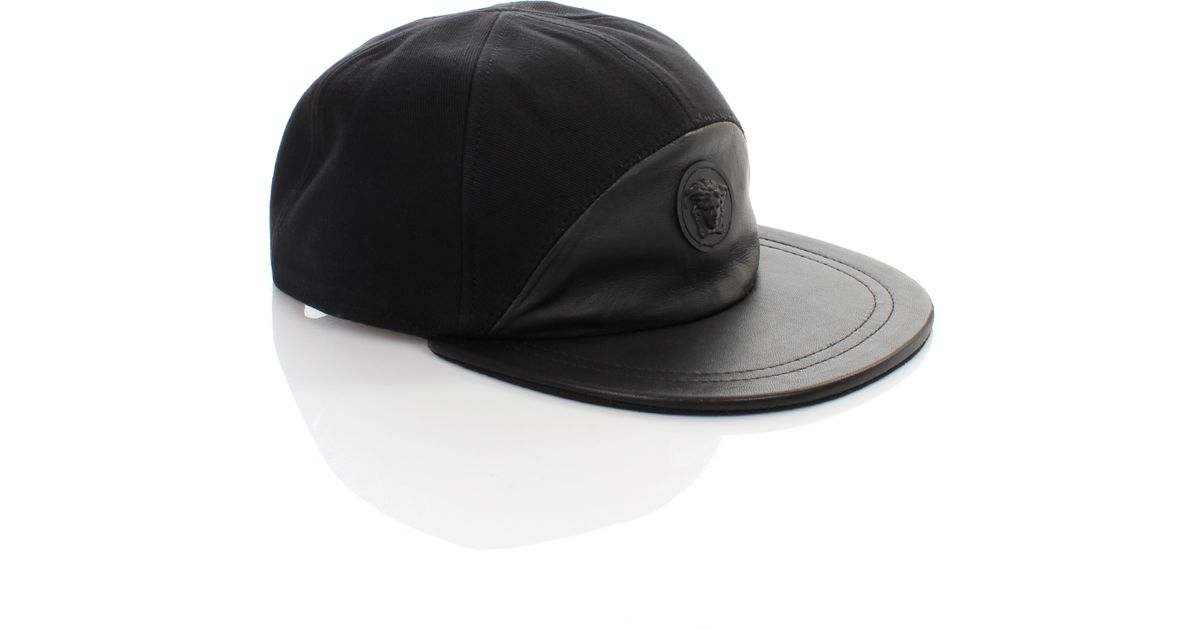 Lyst - Versace Medusa Logo Half Leather Cap Nero in Black for Men f51bca0b8b8