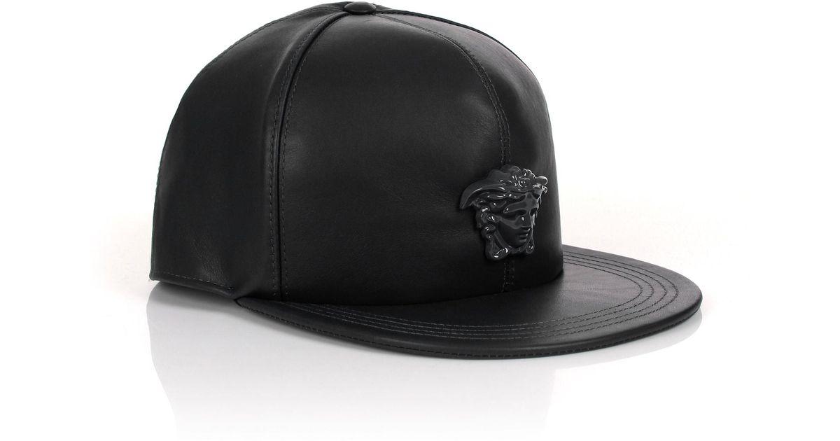 Lyst - Versace Medusa Logo Leather Show Cap Black black in Black for Men 4ce8465fa4ec