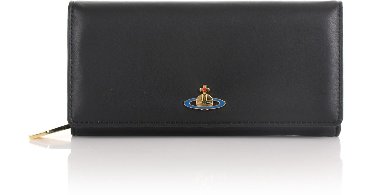 006f805ac66 Vivienne Westwood Nappa 1032 Large Long Purse Black in Black - Lyst