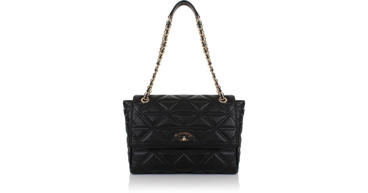 094a70a4a9aa Lyst - Vivienne Westwood Sharlenemania 7050 Large Quilted Bag With Flap  Black in Black