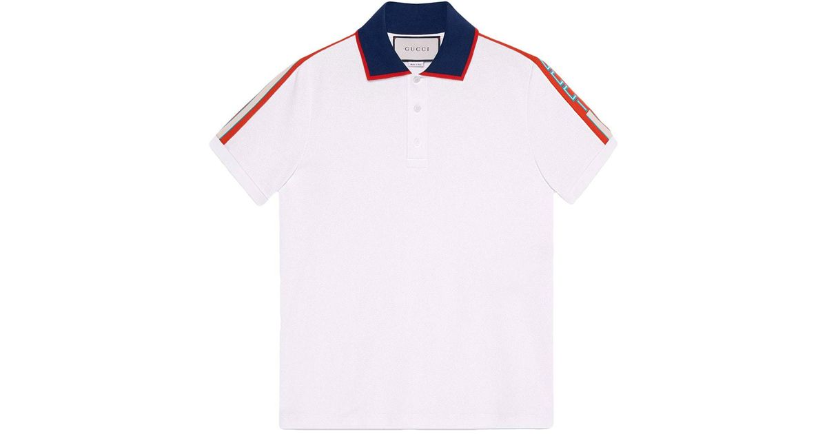 99c8c85b2506 Lyst - Gucci Polo Shirt With Red Stripe for Men