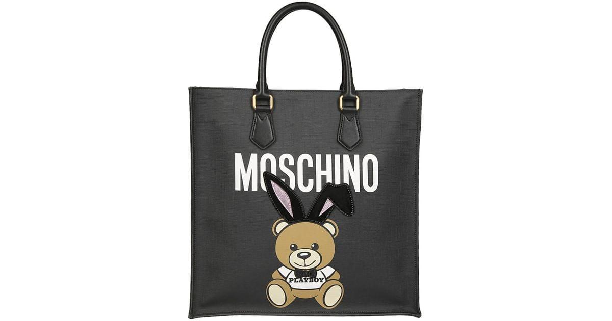 7cd0b21e78 Lyst - Moschino MOSCHINO Borsa shopping orso nera in Black