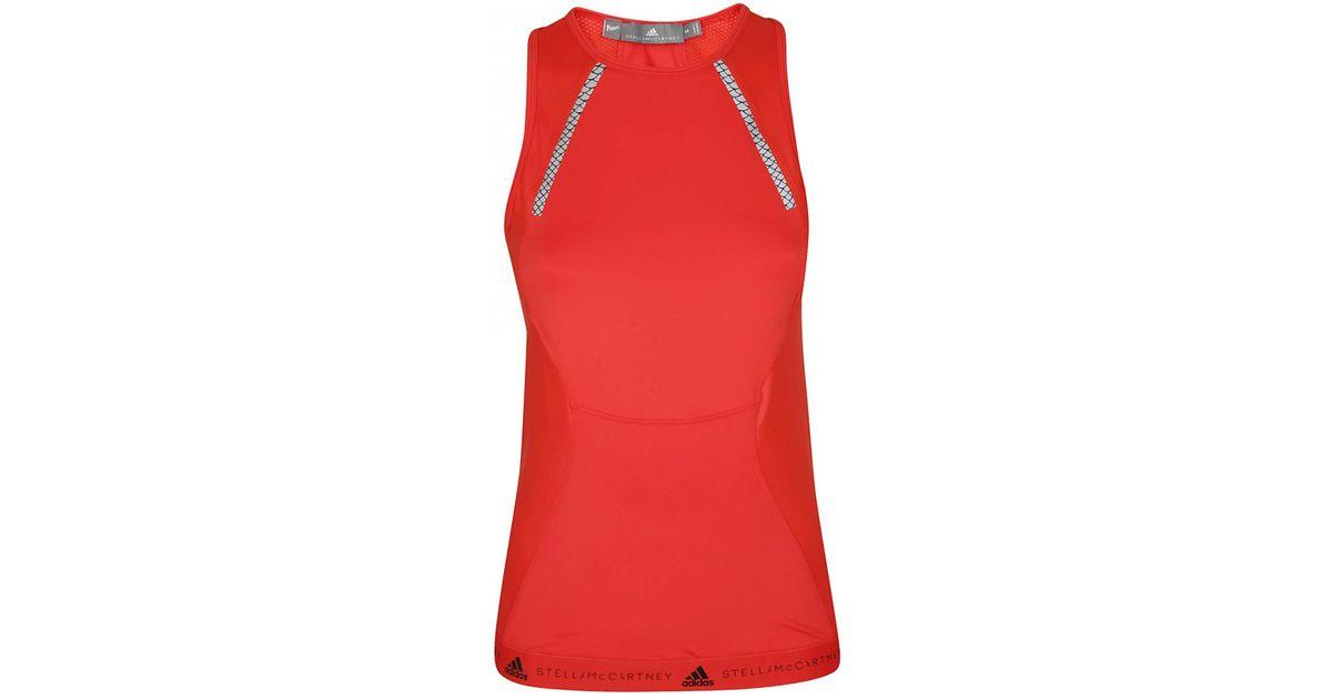 f90f141757 Adidas By Stella Mccartney ADIDAS BY STELLA MCCARTNEY Top run tank rosso in  Red - Lyst