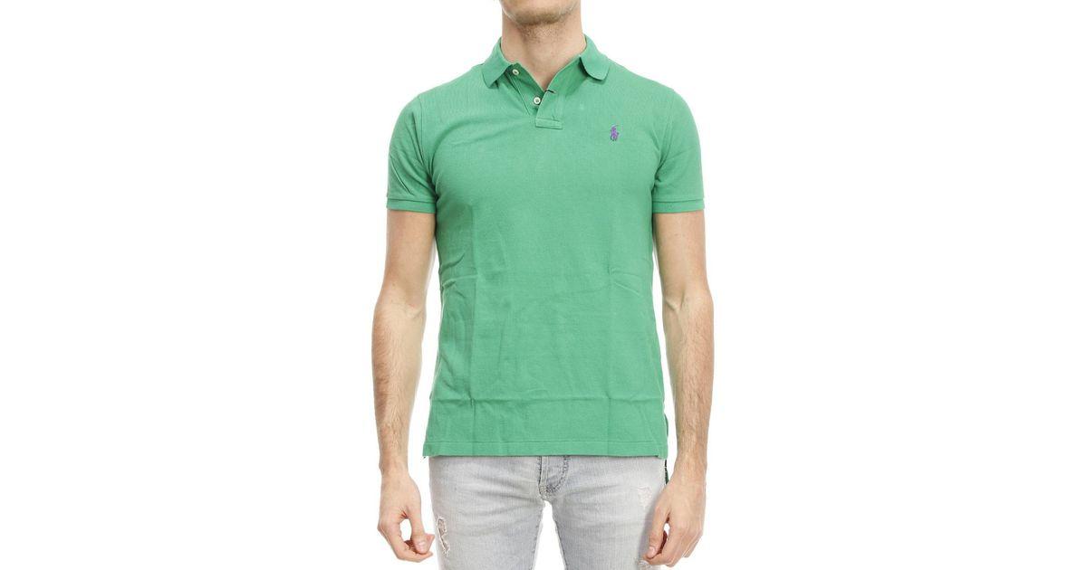 Polo ralph lauren t shirt in green for men apple green for Apple green dress shirt
