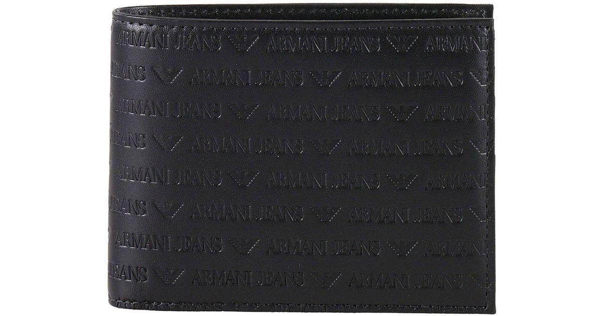 c56d79007e6 Armani Jeans Wallet Men in Black for Men - Lyst
