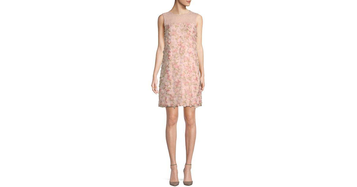 de6f7fd0 Karl Lagerfeld Paris Floral Applique Dress in Pink - Lyst