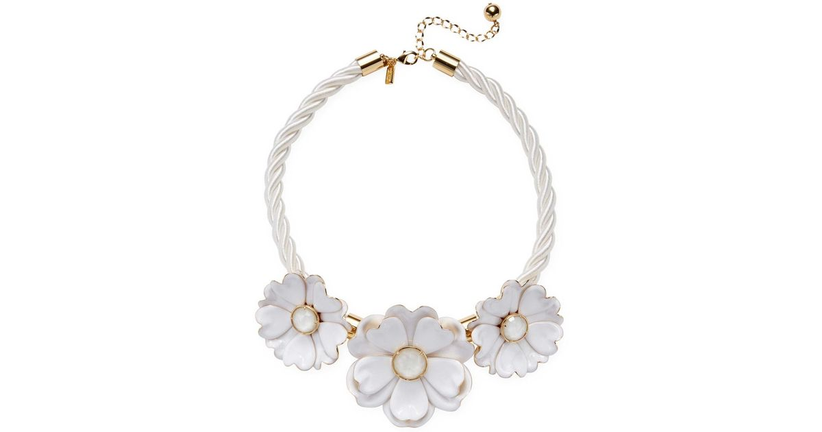 Lyst kate spade bright blossom flower statement necklace in white mightylinksfo