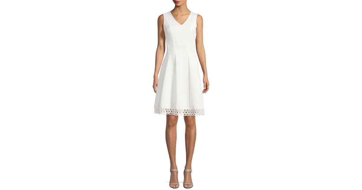 450cfde0a5442 Donna Ricco Fit & Flare Scuba Dress in White - Lyst