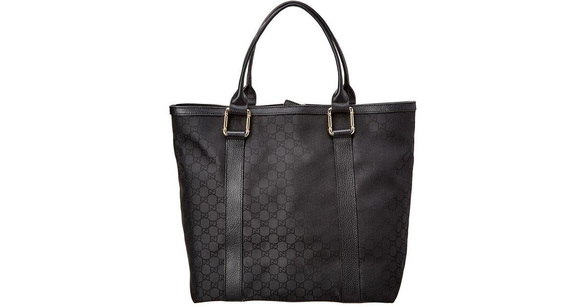 ab93bae2dffe Lyst - Gucci Black Gg Supreme Nylon & Leather Tote in Black