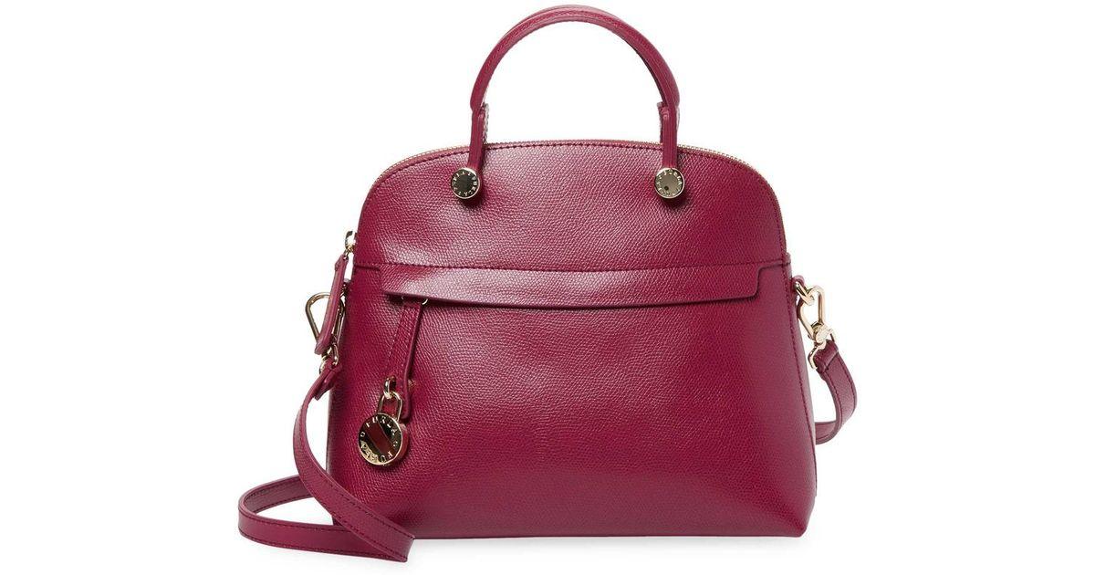 94a92e62c3de7 Lyst - Furla Small Leather Dome Satchel in Purple