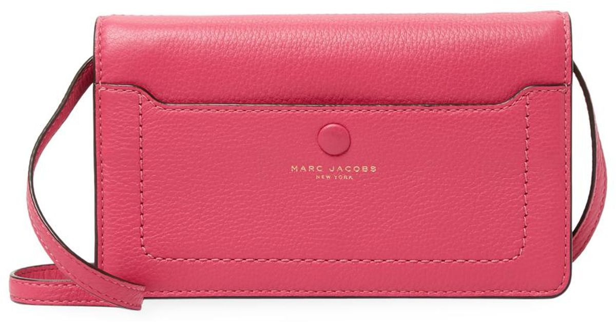 e25a68d9d92 Marc Jacobs Leather Convertible Clutch in Pink - Lyst