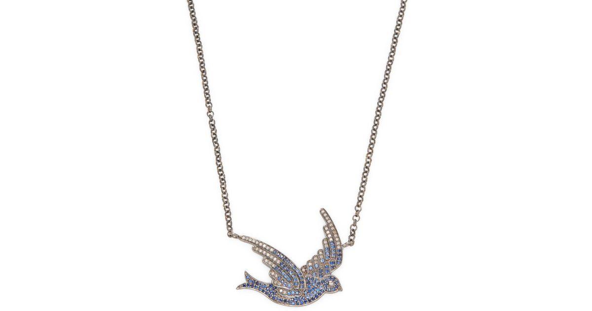 Lyst jyoti new york 027 tcw diamond and sapphire sparrow pendant lyst jyoti new york 027 tcw diamond and sapphire sparrow pendant necklace in metallic aloadofball Images