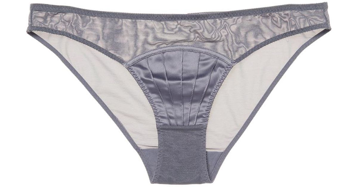 3be186c5e892 Lyst - Stella McCartney Lingerie Picot Trim Solid Mesh Thong in Gray