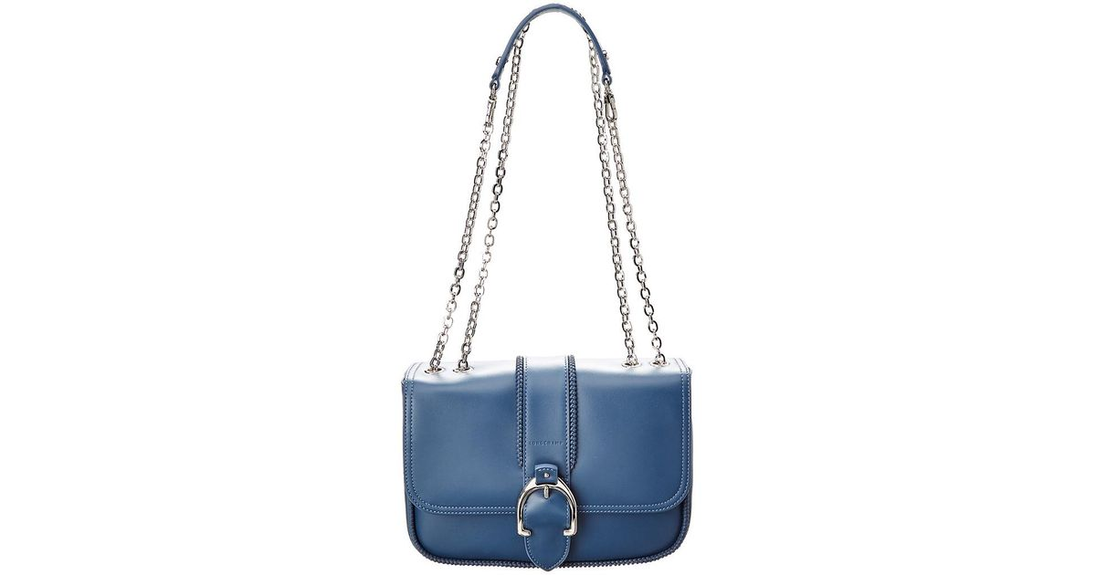 1e92bb86cc81 Lyst - Longchamp Amazone Leather Shoulder Bag in Blue