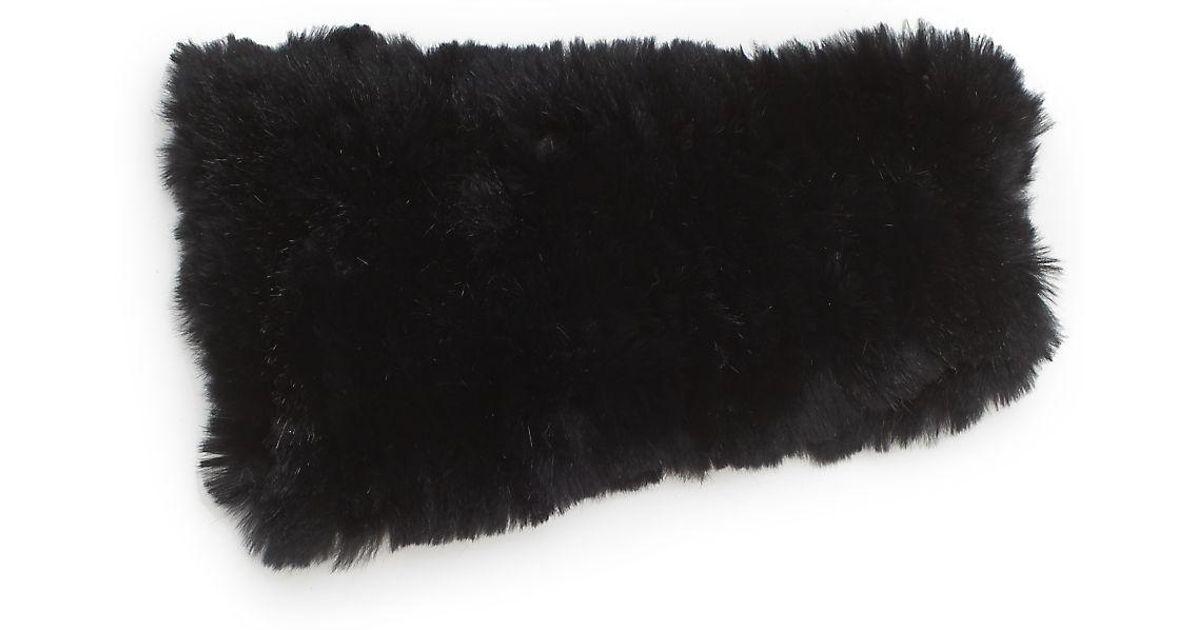 99694b1398d Lyst - Saks Fifth Avenue Knitted Rabbit Fur Headband in Black