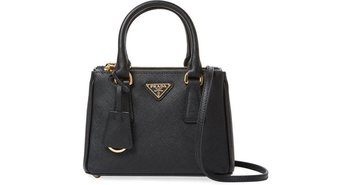 a1401262207385 ... hot lyst prada galleria double zip mini saffiano leather tote in black  58638 3a37d
