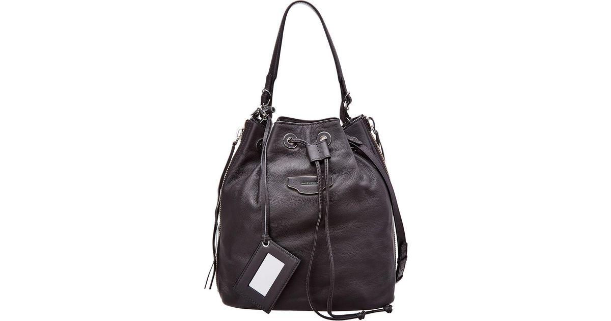 Balenciaga Papier Plate Leather Bucket Bag in Gray - Save  7.583643122676577% - Lyst 3db21beaa539a