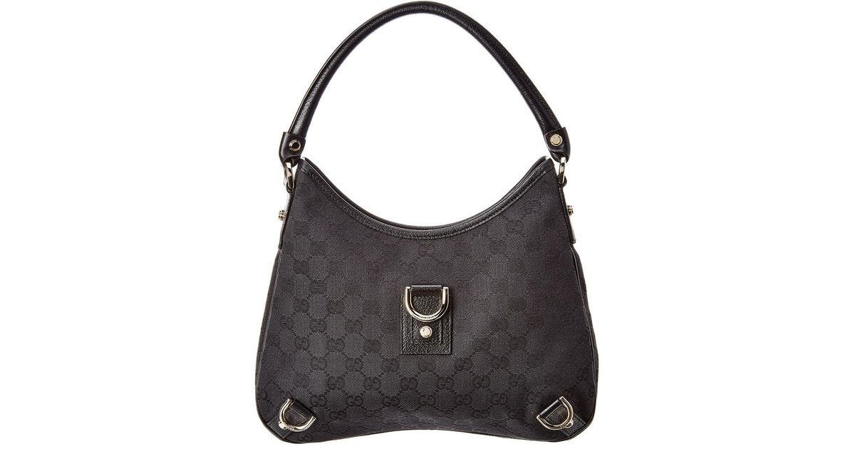59c32a65d32 Gucci Black GG Canvas   Leather Abbey Hobo Bag in Black - Lyst