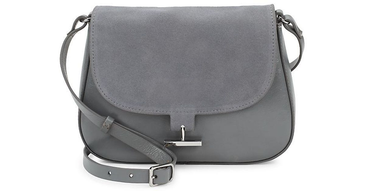 complimentary shipping hot-selling real select for latest Halston Heritage Gray Classic Leather Crossbody Bag