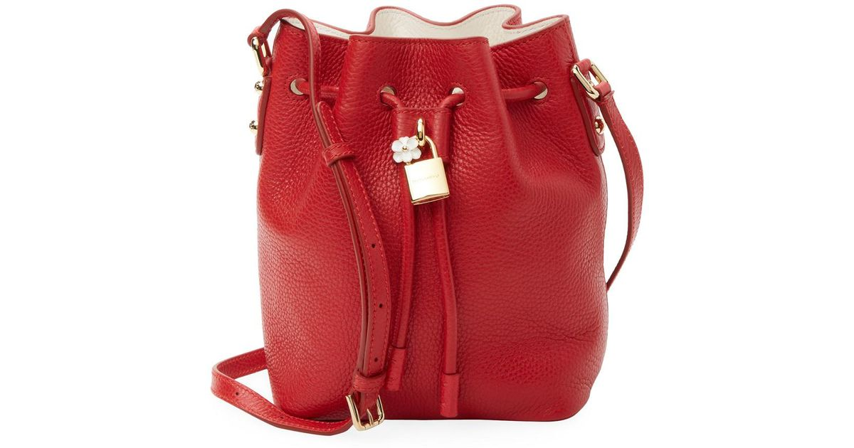 e2e2f6ec6b1d Lyst - Dolce   Gabbana Small Claudia Leather Bucket Bag in Red