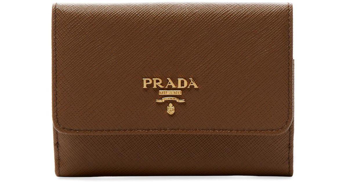 1ff170868f40 ... ireland lyst prada saffiano leather short wallet d8db1 da319