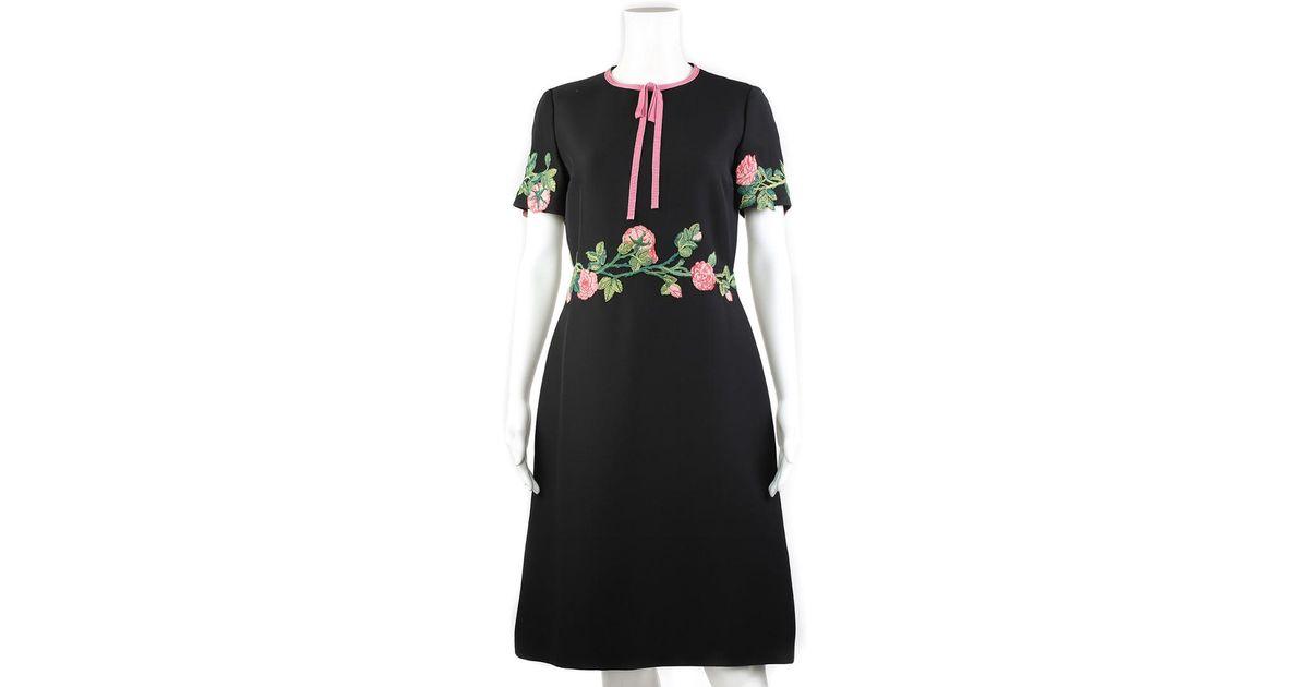 46cbeb55773 Lyst - Gucci Black Wool   Silk-blend A-line Dress