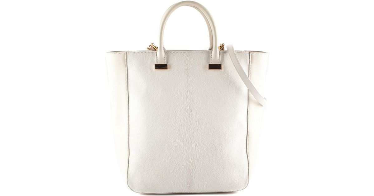 7ba7e69383 Lyst - The Row Cream Leather   Calfhair Day Luxe Tall Bag