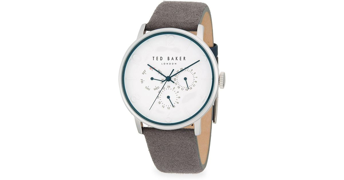 2af569ebd Lyst - Ted Baker Round Stainless Steel And Leather-strap Watch