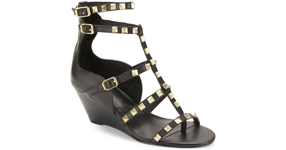 601e61671c81 Ash Dafne Leather Studded Wedge Shoes in Black - Lyst