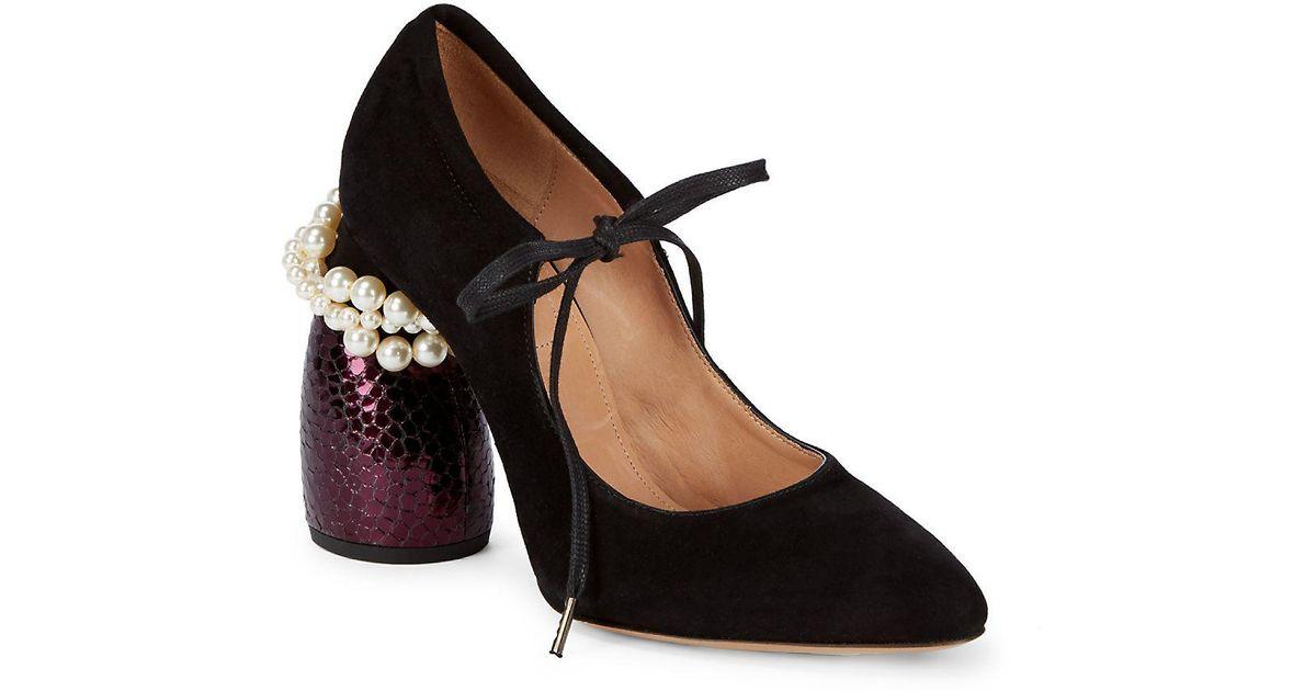 5855f346dffd Dries Van Noten Mary Jane Pearl Heel Pumps in Black - Lyst