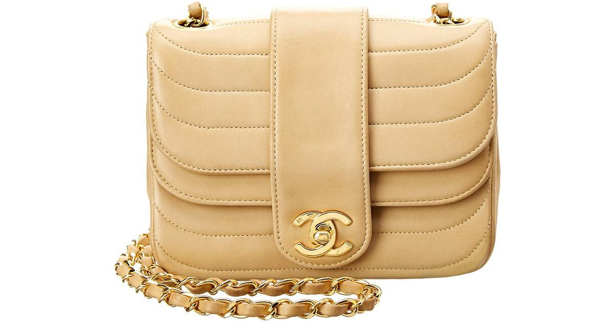 17124f327b39 Chanel Beige Lambskin Leather Mini Double Round Flap Bag in Natural - Lyst