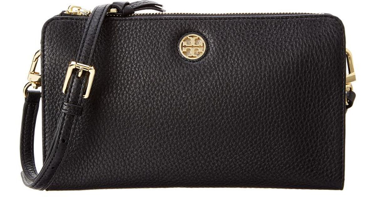 e53a22399 Tory Burch Brody Pebbled Leather Wallet Crossbody in Black - Save 1% - Lyst