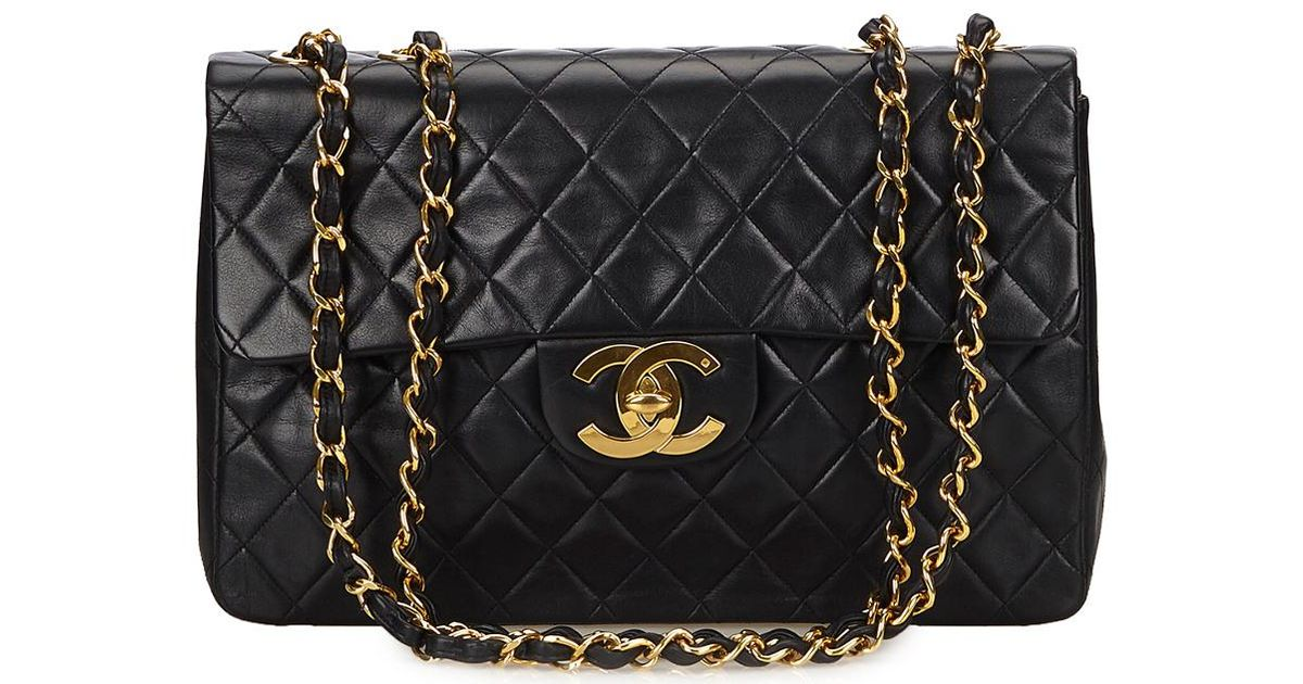 467790e991cd Lyst - Chanel Black Quilted Lambskin Leather Classic Maxi Single Flap Bag  in Black