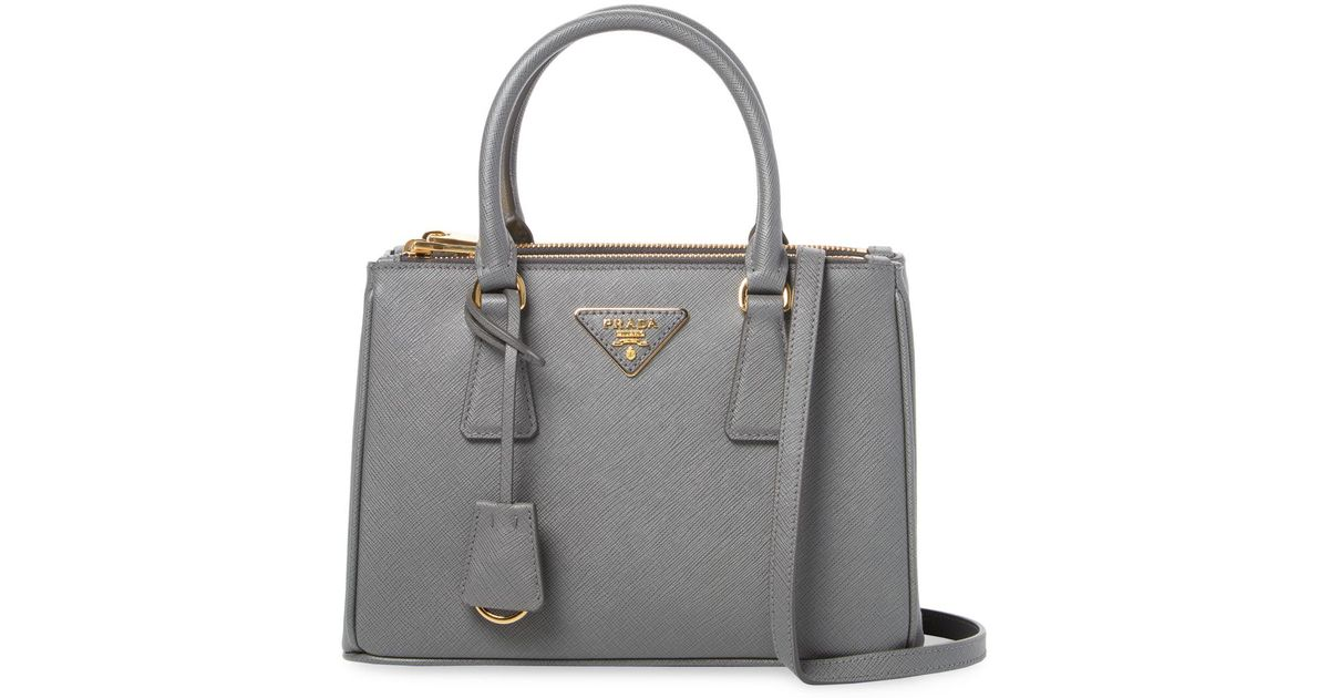 dcf1a8db2597 ... wholesale lyst prada galleria double zip small saffiano leather tote in  gray 0ed09 393bc
