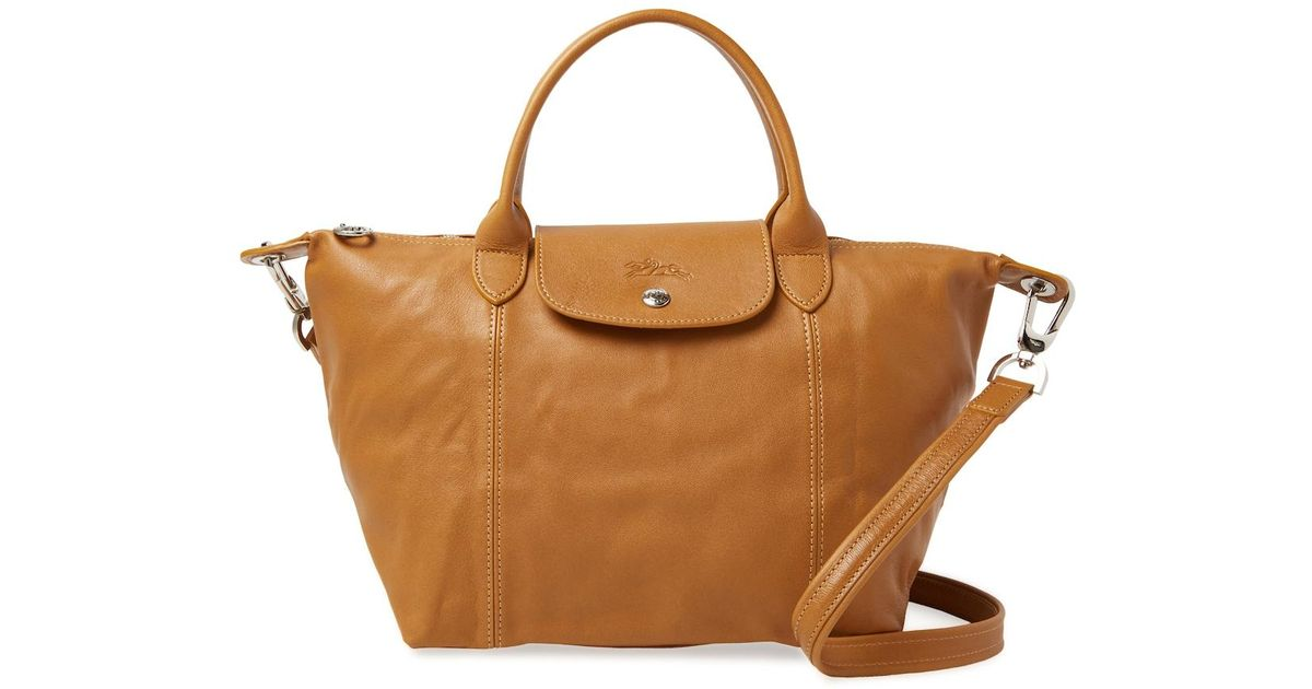 5653a4bf8101 Lyst - Longchamp Le Pliage Cuir Small Leather Tote in Natural