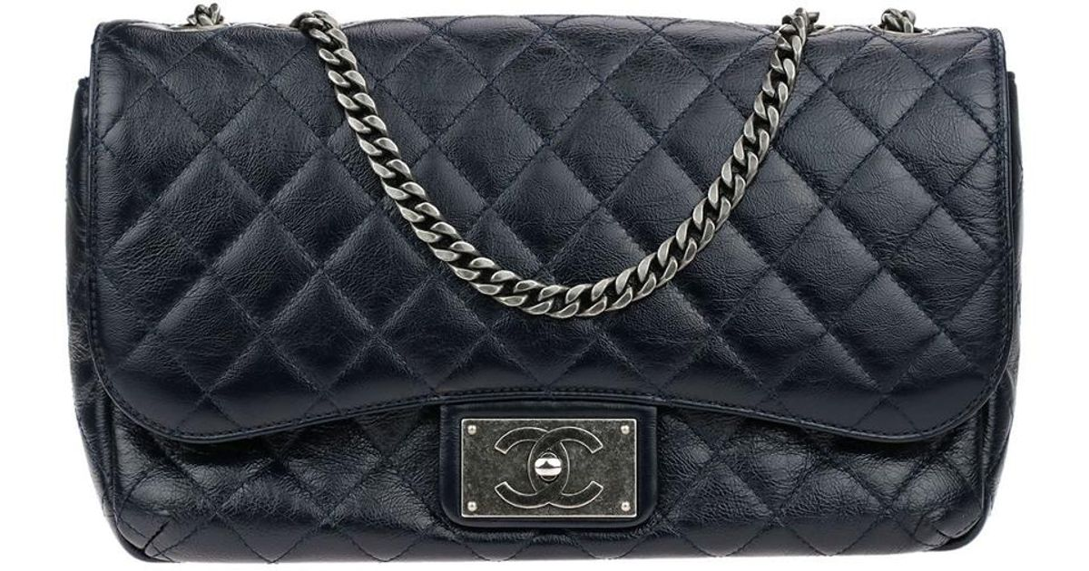 a6ce5189f790 Lyst - Chanel Limited Edition Navy Blue Quilted Crinkled Patent Leather  Jumbo Single Flap Bag in Blue